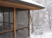 light snow on screen porch, home, Falmouth, Va