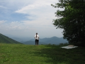 Lynn and  view from Blue Ridge Parkway