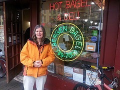 Lynn in front of Bergen Bagel on Bergen St, Brooklyn, NY