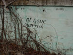 sign on abandoned swimming pool wall, Stafford, Virginia, US